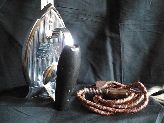 vintage 1940s Kwik Way Travel Iron - retro metal houseware, antique electronic, home decor