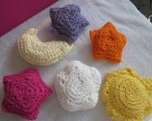 Crochet elements originally made for a mobile over crib. Sun, crescent moon, cloud and 3 stars.ON SALE