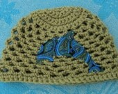 Dolphin baby beanie will fit 3 to 6 mos.