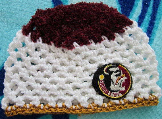 Florida State Seminoles crochet baby hat fits 3 to 6 mos. fan