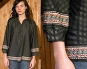 Vintage Black Blouse with White Polka Dots and Design Band at Bottom and end of each Sleeve
