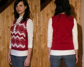 Vintage Red Sweater Vest with Geometric Design