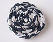 Navy Blue and White Twisted Flower Hair Clip - Large Twisted Rosette Alligator Clip