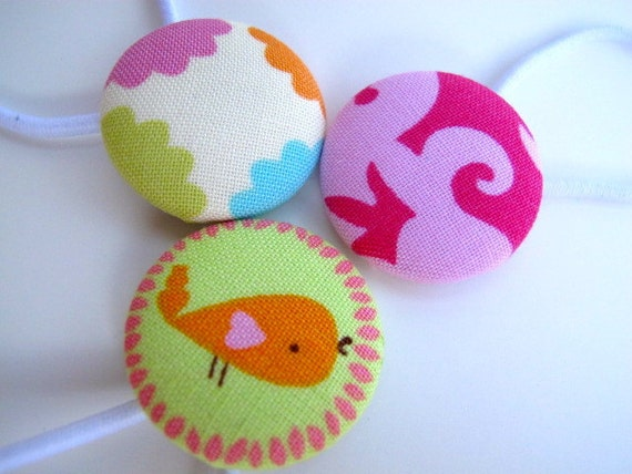 Button Ponytail Holders - Hair Ties - Pigtail Holders - Elastic hair Bands