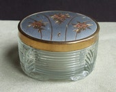 Powder Box  with Powder Puff - Glass and Metal - Antique