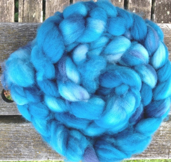 RESERVED for String of Lights Studio hand-dyed roving, teal, superwash merino