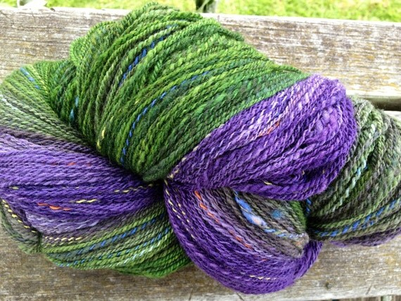 Handspun sock yarn, purple and green