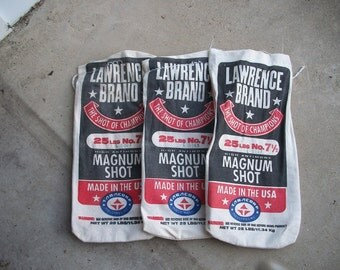 Set of 3 Vintage Lawrence Brand Lead Pellet Canvas Bags