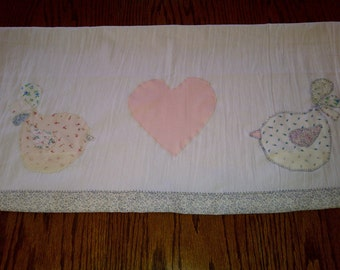 SALE- Vintage Crinkle Flour Sack Upcycled- Love Birdies Dish Towel