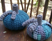 Crochet Pumpkins-Teal and Teal Multi-Set of 2  Fall  Halloween  Thanksgiving Decoration