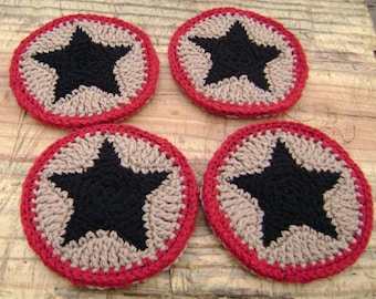 Crochet Coaster Set  Decoration   Warm Brown and Ranch Red with Black Star