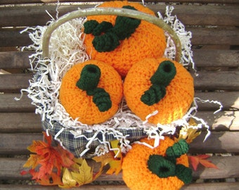 Crochet Pumpkin Halloween Fall Thanksgiving Holiday Decoration Centerpiece Shelf Sitter Bowl Filler Set of 4