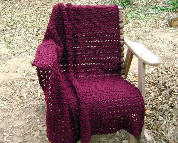 Crochet  Afghan  Throw  Blanket  Lap Blanket  Claret