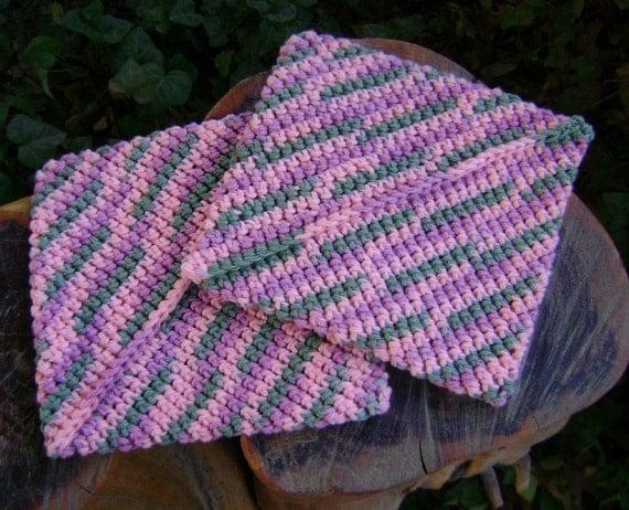 Crochet Pot Holders   Hot Pads Cotton  Kitchen  Pair