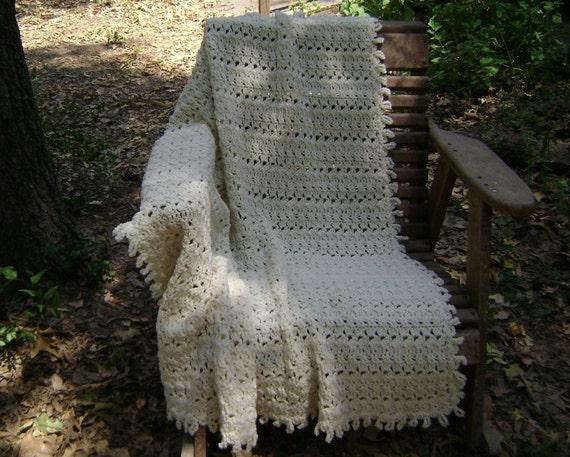 Crochet  Afghan  Throw  Blanket  Off White