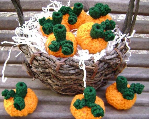 Crochet Pumpkin Fall Halloween Thanksgiving Decoration Bowl Filler Centerpiece Shelf Sitter Ornament Accent Tiny Set of 8