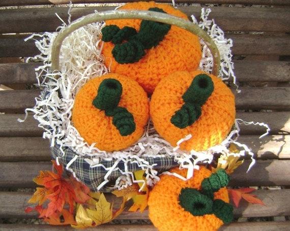 Crochet Pumpkin Halloween Fall Thanksgiving Holiday Decoration Centerpiece Shelf Sitter Bowl Filler Set of 4