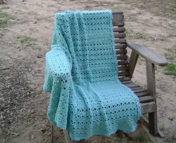 Crochet  Afghan  Throw  Blanket  Lap Blanket   Pale Turquoise