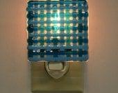 Blue Plaid Fused Glass Night Light