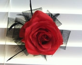 Large red rose and black ribbon hair clip