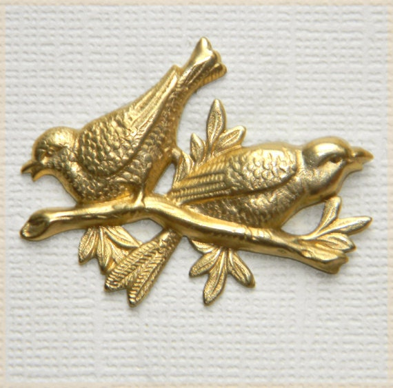 Raw Brass Stamping Love Birds Sitting on a Branch 31mm x 40mm - 4 pcs.