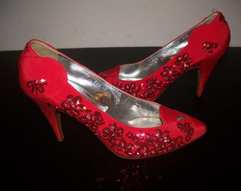 PRICE REDUCED Vintage Casadei Beautiful Red Sequin Heels