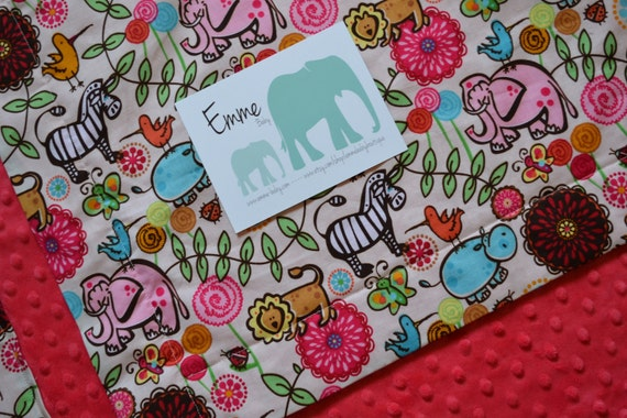 Safari Party Cotton and Pink Minky Baby Blanket