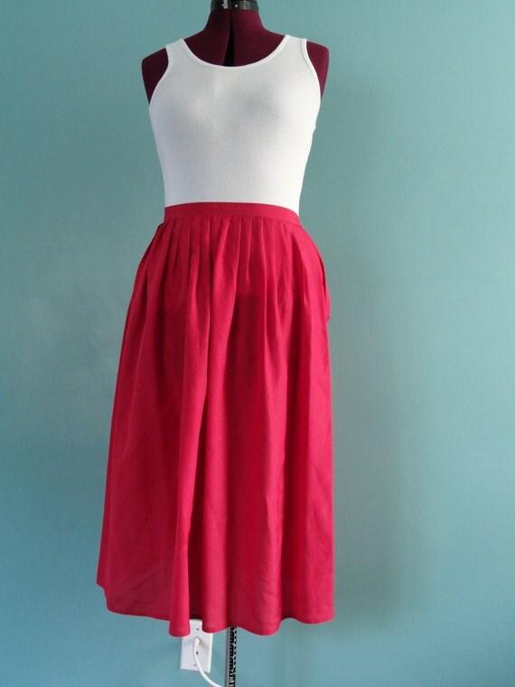 SALE 50% OFF Vintage Raspberry Pink Feminine Pleated Tea Length Skirt 10/12