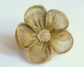 Vintage Flower Napkin Rings - Set of 4 Green and Brown Natural Fibers - 2 inch diameter