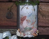 Altered art, embellished bottle, fantasy artbottle, mixed media,mermaid,Mermaid Bottle, sea shells, pearls, glitter, crystals