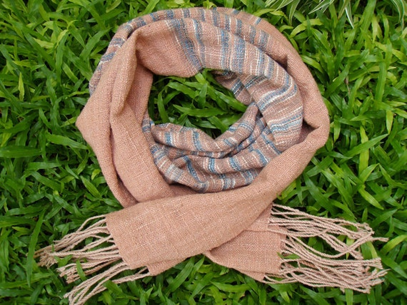 """Hand Woven Cotton Scarf (small) 17.5""""x72""""  in Eco Friendly BASKET"""