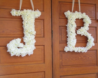 1 custom floral silk letter, Wedding Custom Floral Letters, Front Door Decorations, Church Door Decor, Bridal Gifts, Rose Wreaths