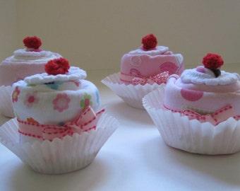 Baby Girl Onesies, Burp Cloth, Bib and Socks Sweet 8 piece Essentials Cupcake Set