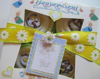 Unisex Onsie, Bib, Socks and Washcloth 9 Piece Cute Cupcake Set