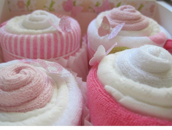 Baby Girl Diaper Washcloth and Socks 10 Piece Cupcake Set