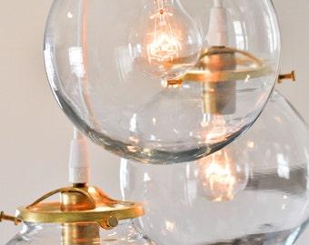 Brass & Glass Globe Pendant Chandelier