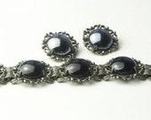Vintage Black Mirror Glass Panel BRACELET and  Earrings Set on Etsy