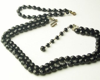 Vintage Double Strand Jet Black Old Hollywood Glamour CRYSTAL NECKLACE Bracelet Costume Jewelry Demi Parure