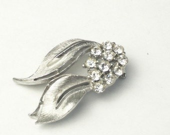 Vintage Brooch Detailed Silver Leaves Rhinestone 1960's Mid Century Mad Men Costume Jewelry Pin Gift For Her on Etsy