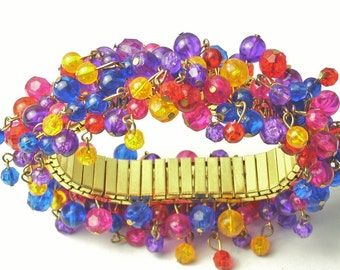 Colorful Vintage 1960's Statement BRACELET Expandable Multi Bead Cha Cha Mid Century Costume Jewelry Gift For Her on Etsy