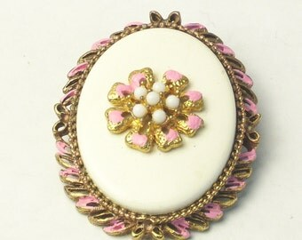 Vintage 1940's Brooch Pink Enamel Milky White Glass Oval Costume Jewelry Pin Gift For Her on Etsy