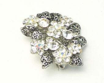 Aurora Borealis Rhinestone Flowers Filigree Leaves Vintage Brooch Costume Jewelry Pin
