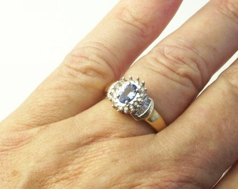 Vintage Ring 10K Solid Yellow Gold Alternative Engagement Ring Tanzanite & Baguette Diamond Vintage RING Size 7 Fine Jewelry on Etsy
