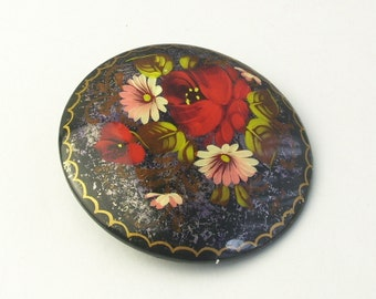 Brooch Hand Painted Artist Signed Floral Flower Costume Jewelry Pin