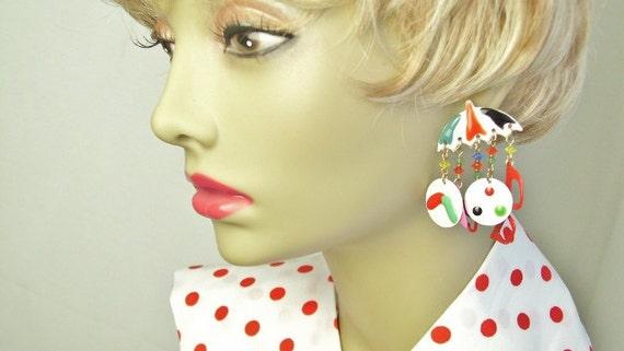 Colorful, FUN, Beach or Poolside Dangle Summertime Vintage Enamel Charm Costume Jewelry EARRINGS on Etsy