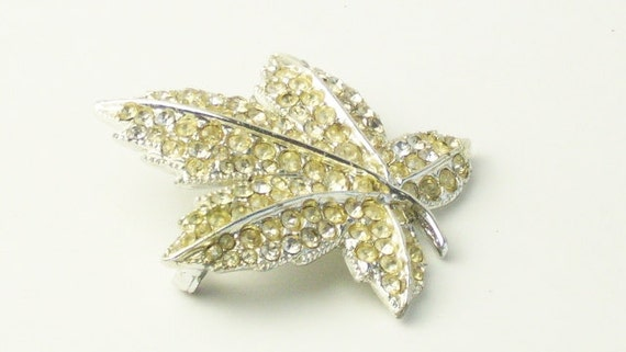Pale Yellow Rhinestone Autumn Maple Leaf Vintage Open Back Costume Jewelry BROOCH Pin on Etsy