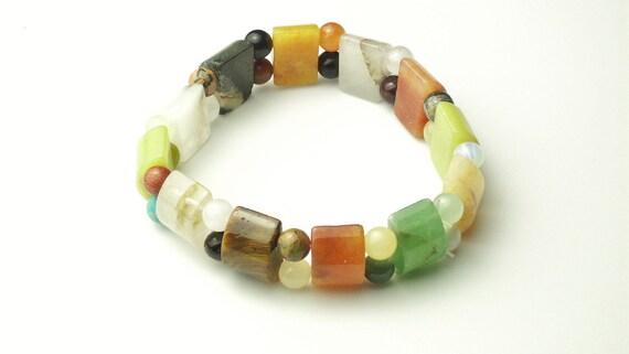 Multi Natural Stone Expandable Stretch Vintage Costume Jewelry BRACELET on Etsy