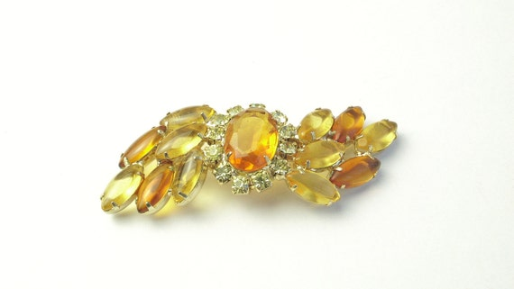 Amber Citrine Glass Stones Rhinestone Vintage Costume Jewelry BROOCH Pin on Etsy Unsigned Judy Lee