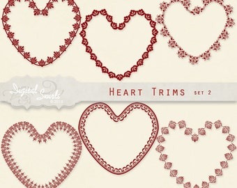 Heart Trims Set 2 -  Digital Clipart for card making, scrapbooking, invitations, printed products, smash books, commercial use