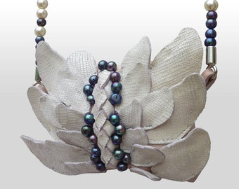 Leather Pearl Winged Neck Pouch